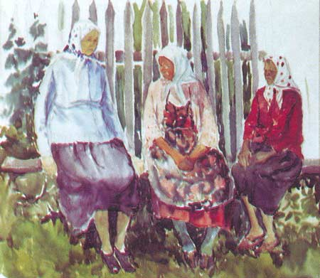 Картина:Этюд. Три подружки.
