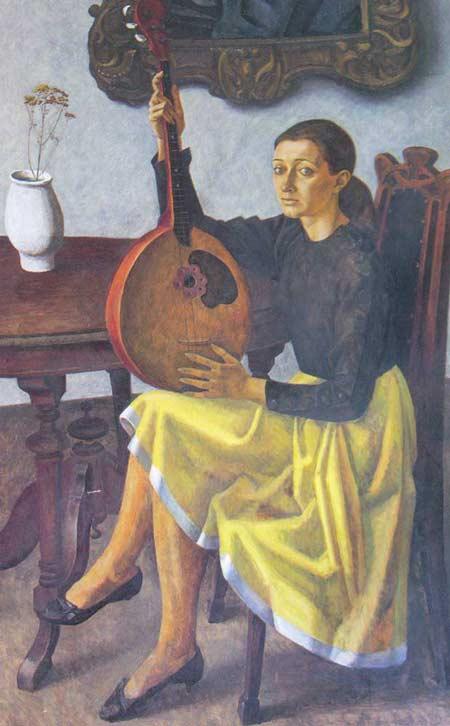 Картина:Девушка с домрой (портрет Ольги Булатовой).