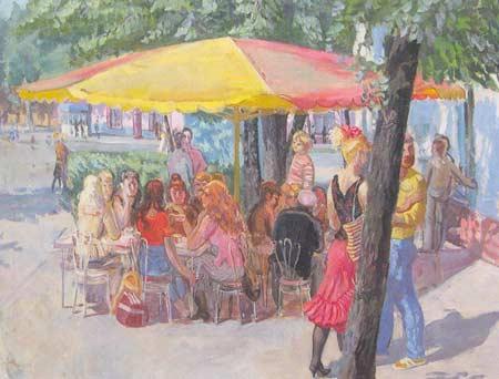 Картина:Под зонтом. Любители кофе.