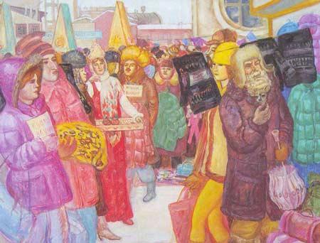 Картина:Свитера турецкие, пуховики китайские, ваучеры российские.