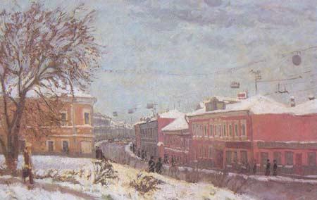 Картина:Старая Москва. Улица Тулинская зимой.