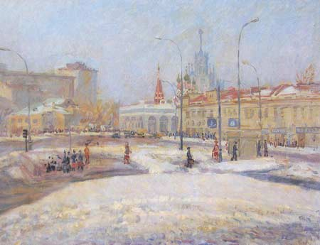 Картина:Таганская площадь в Москве.