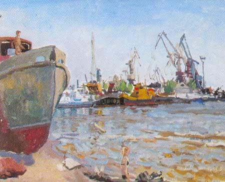 Картина:Этюд. Речной порт.