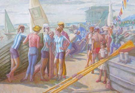 Картина:Яхт - клуб на Волге. Морское многоборье.