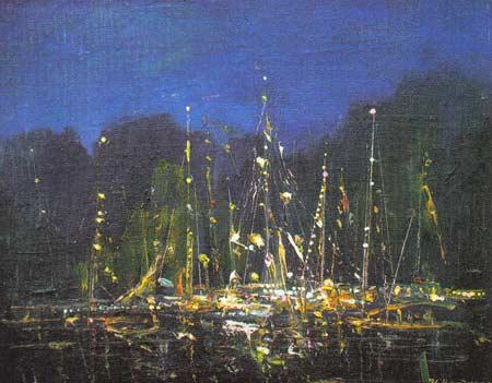 Картина:Яхты. Ночь на Ангаре.