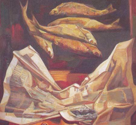 Картина:Натюрморт с рыбой.