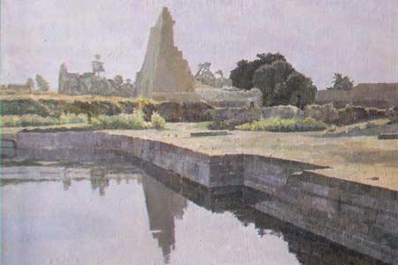 Картина:Озеро фараонов. Карнакский храм.