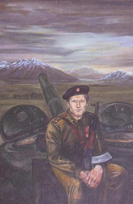 Картина:На земле Афганистана (кавалер ордена Боевого Красного Знамени старший лейтенант Воронин А. В.)